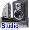 Studio monitors, mixers and interface